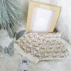Michael Kors gold and white hat and scarf set